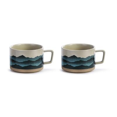DEMDACO Love that Mountain Air Soup Mug - Set of 2 Blue