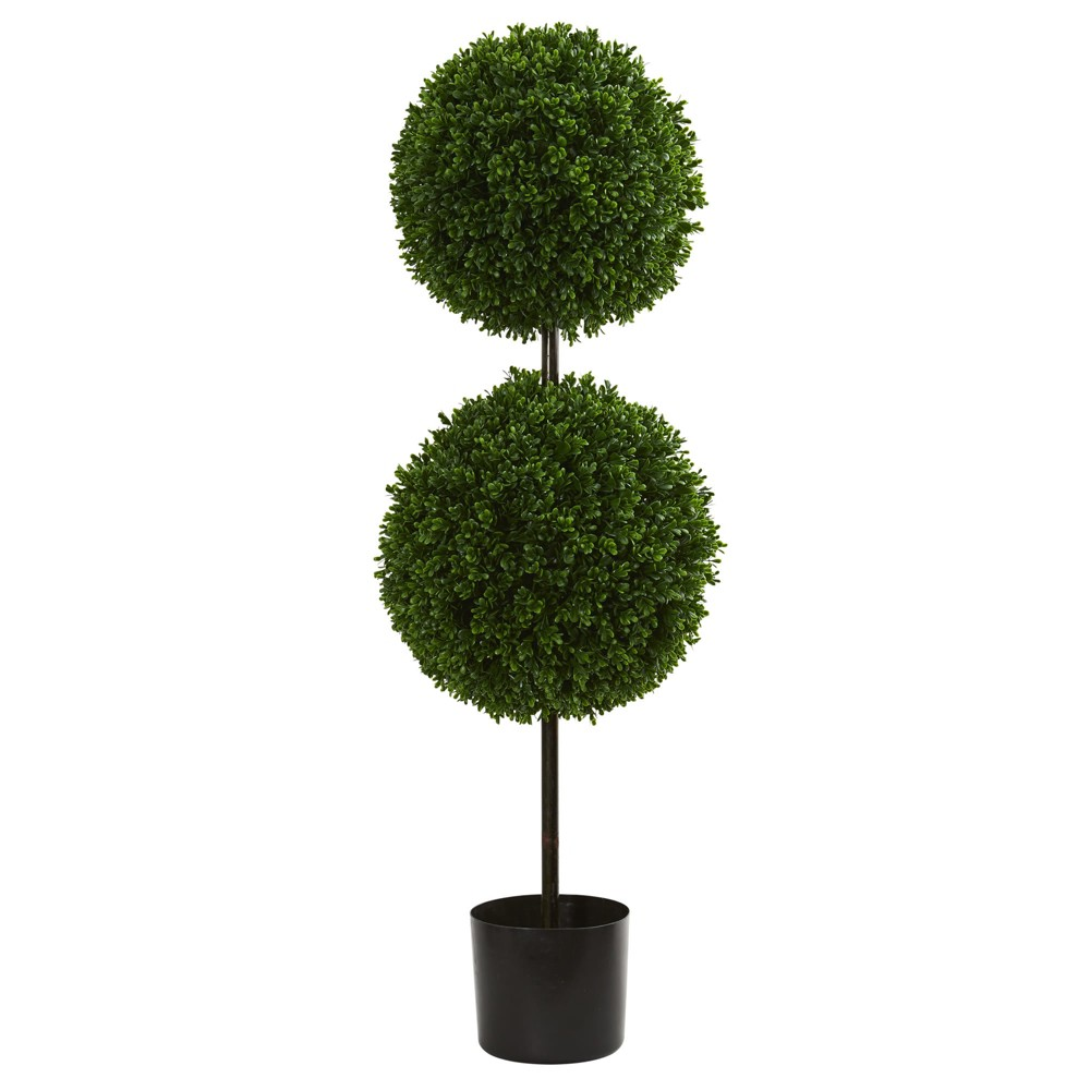 Image of 3.5ft Boxwood Double Ball Artificial Topiary Tree - Nearly Natural