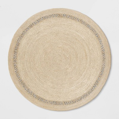 6' Solid Braided Round Area Rug Khaki - Opalhouse™