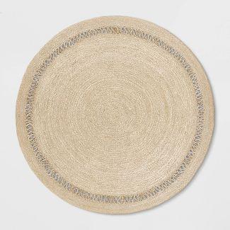 6 Solid Braided Round Area Rug Khaki - Opalhouse™