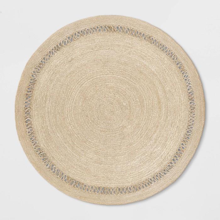 6' Solid Braided Round Area Rug Khaki - Opalhouse™ - image 1 of 4