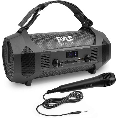 Pyle PBMSPG122 600 Watt Bluetooth Portable Boombox Karaoke Speaker System with Handheld Microphone and Built In Rechargeable Battery