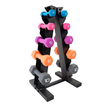 HolaHatha 2, 3, 5, 8, and 10 Pound Neoprene Dumbbell Free Hand Weight Set with Storage Rack, Ideal for Home Exercises to Gain Tone and Definition