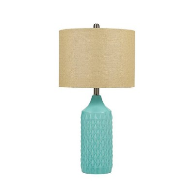 """26.5"""" Quilted Ceramic Table Lamp with Natural Linen Drum Shade Aqua Blue - Cresswell Lighting"""