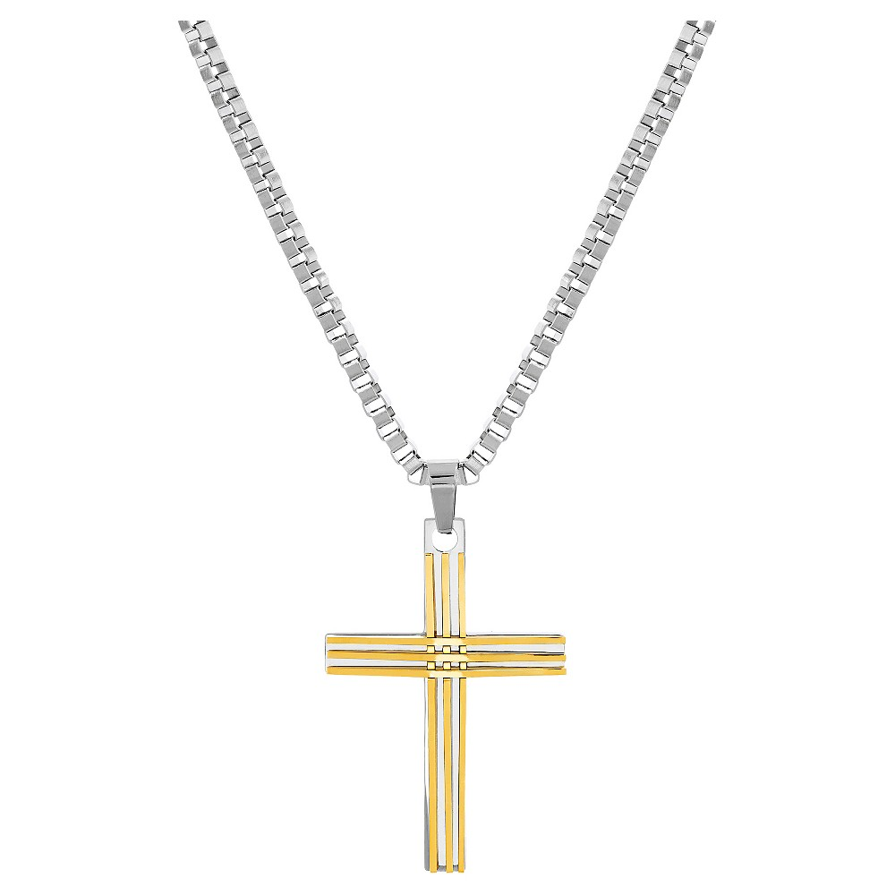 Two-Tone Stainless Steel Men's Ribbed Cross Pendant Box Chain Necklace, Multi-Colored