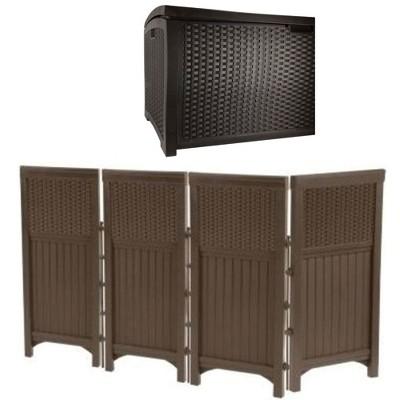 Suncast Backyard Patio Screen Gate w/ Backyard Patio Garden Garage Wicker Resin
