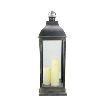 "Northlight 28"" Large Black Brushed Gold Lantern With Flameless LED Candles"