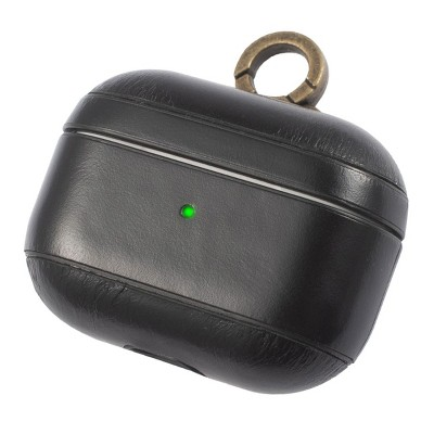 Insten Genuine Leather Case For Airpods Pro with Anti Loss Keychain Carrying Hook, Front LED Light Visible, Black