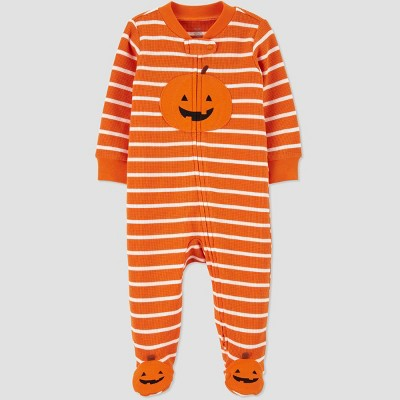 Baby Pumpkin Thermal Footed Pajama - Just One You® made by carter's Orange