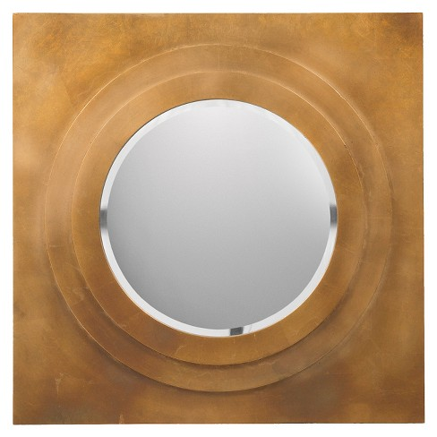 Round Goldwell Decorative Wall Mirror Brilliant Gold - Surya - image 1 of 1