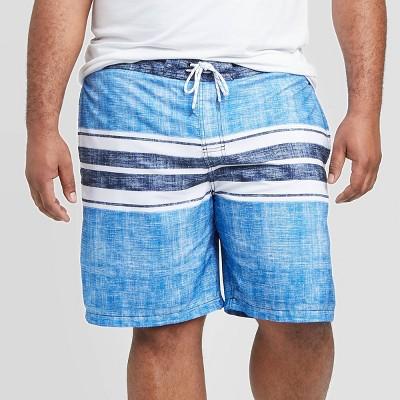 "Men's Big & Tall 9"" Striped Engineered Swim Shorts - Goodfellow & Co™ Blue"