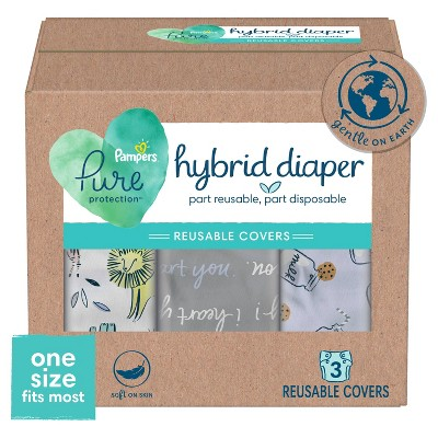 Pampers Hybrid Cover Unisex Diapers Jungle, I Heart You-gray, Milk and Cookies - 3ct