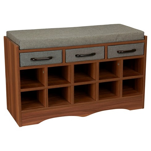 Household Essentials Entryway Shoe Storage Bench Honey Maple Blue Gray