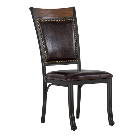 Set of 2 Angelo Side Chair with Nailheads Oak/Dark Brown Faux Leather - Powell Company - image 1 of 4