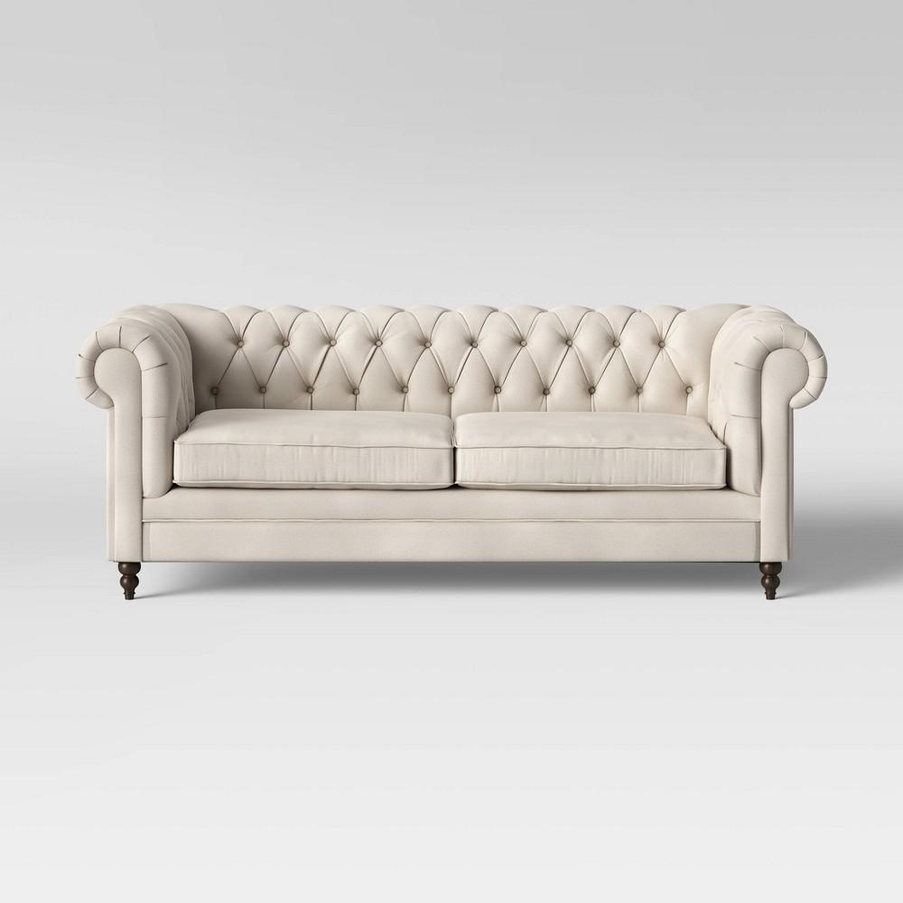 Medfield Chesterfield Sofa with Nailheads Cream (Ivory) - Threshold