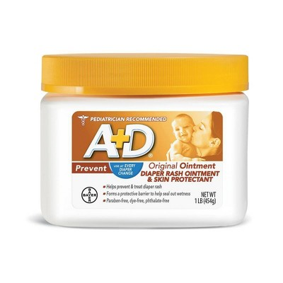 A+D Original Diaper Rash Ointment, Baby Skin Moisturizer and Protectant with Vitamins A and D - 16oz