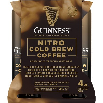 Guinness Nitro Cold Brew Stout Beer - 4pk/14.9 fl oz Cans
