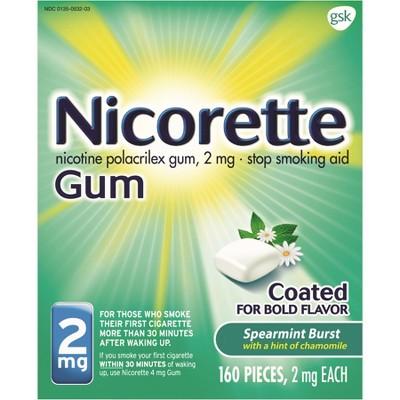 Nicorette 2mg Stop Smoking Aid Nicotine Gum - Spearmint Burst - 160ct