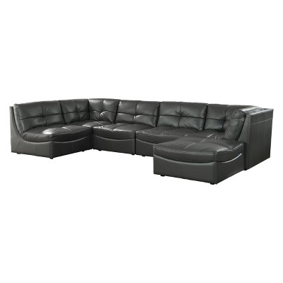 Lazaro Contemporary Leather Gel Tufted Sectional with Ottoman Gray - HOMES: Inside + Out