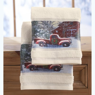 Lakeside Christmas Hand Towels with Decorative Red Truck Print - Set of 2