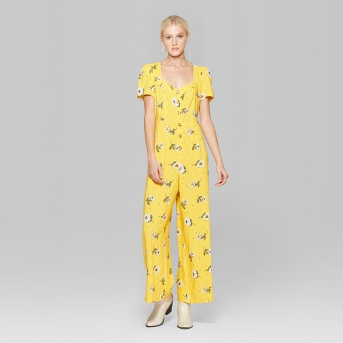 0e257fcdc569 Women s Floral Print Short Sleeve Button Front Jumpsuit - Wild Fable™  Yellow   Target