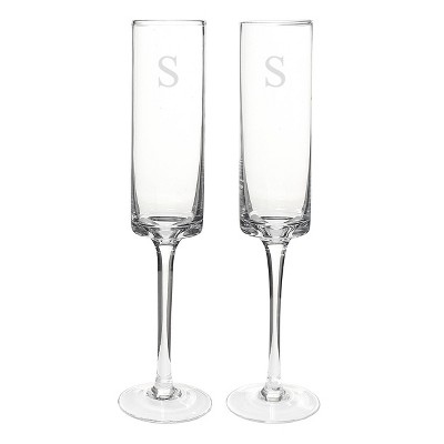 Monogram Contemporary Champagne Flutes - 2ct