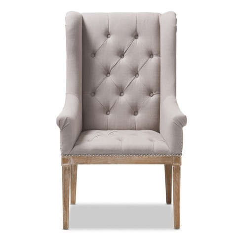 French Provincial Chair >> Cedulie French Provincial Fabric Upholstered Oak Lounge Chair Beige Baxton Studio