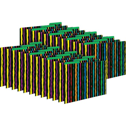 Barker Creek 24pk Neon Stripe Letter Size File Folders - image 1 of 3