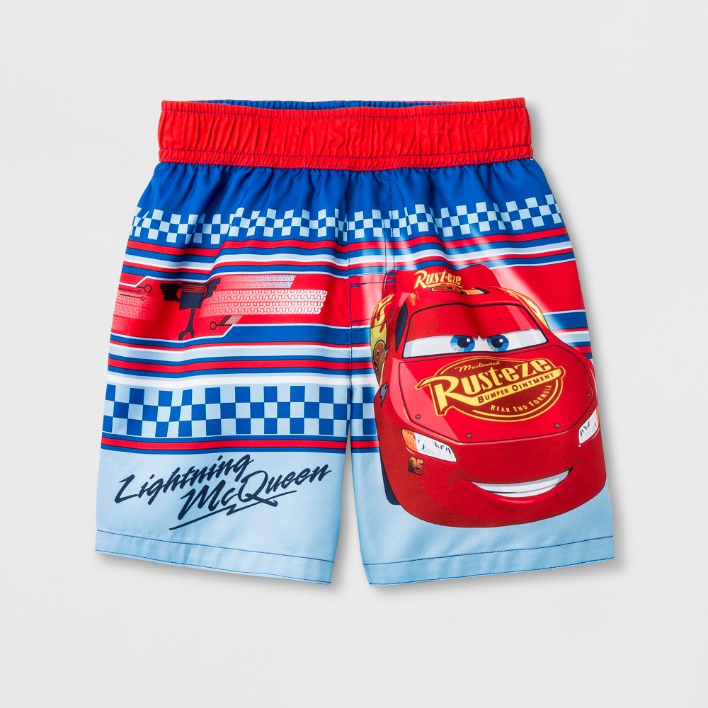 Toddler Boys' Cars Lightning McQueen Swim Trunks - Blue 2T