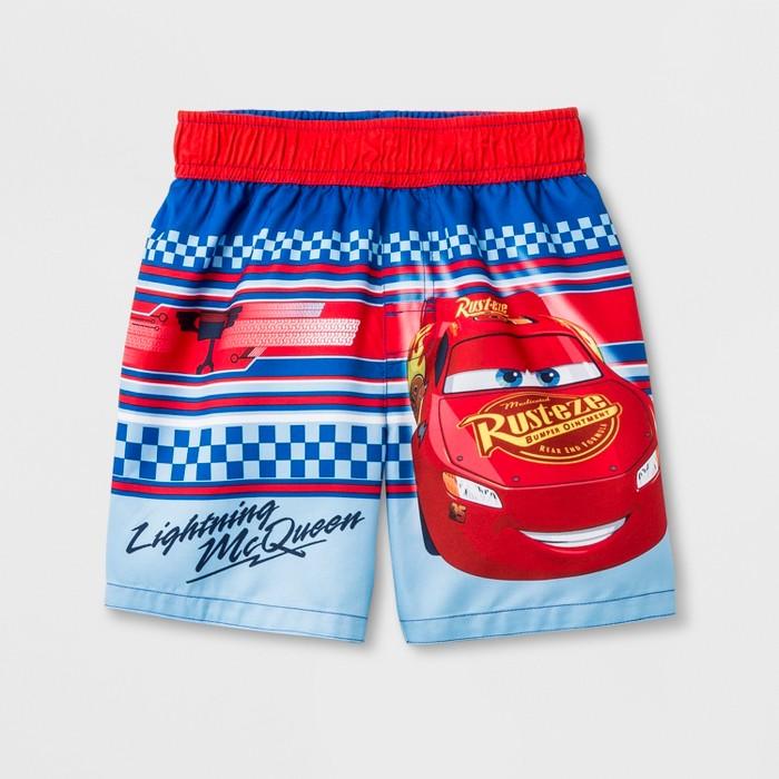 Toddler Boys' Cars Lightning McQueen Swim Trunks - Blue - image 1 of 1
