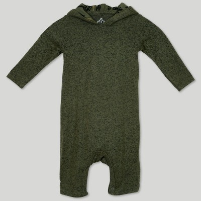 Afton Street Baby Boys' Hooded Long Sleeve Jumpsuit - Green 0-3M