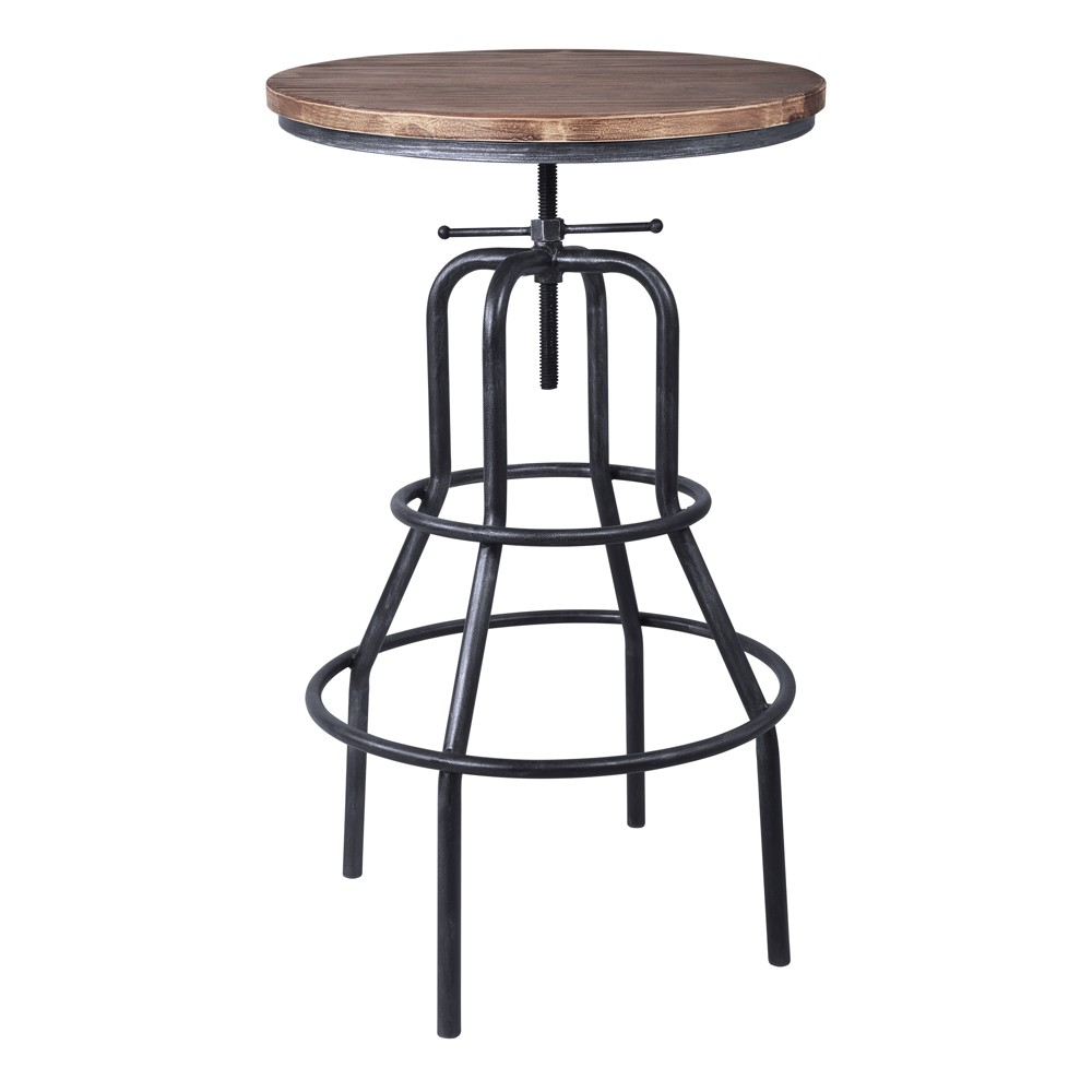 Image of Amarna Industrial Adjustable Pub Table Pine - Modern Home, Brown Gray