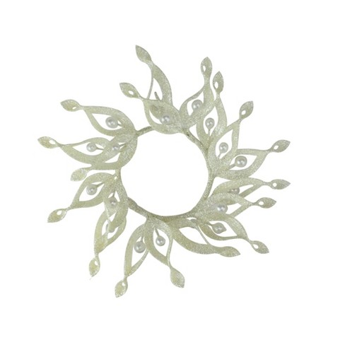 """Melrose 9"""" Glittered Artificial Pine Cone and Ornament Christmas Candle Ring Holder - White - image 1 of 2"""
