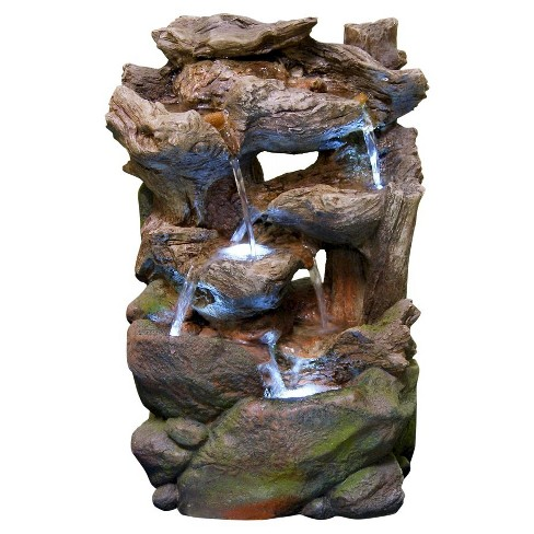 6-Tier Rainforest Tree Trunk Fountain With LED Lights - Alpine Corporation - image 1 of 1