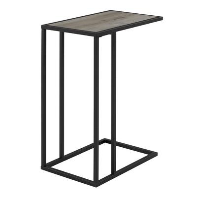 "20"" Modern Two Tone C Side Table with Metal and Wood Gray Wash - Saracina Home"
