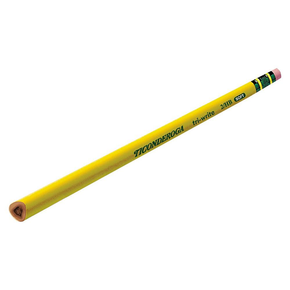 Ticonderoga Tri-Write Woodcase Pencil, HB #2, Yellow Barrel, Dozen
