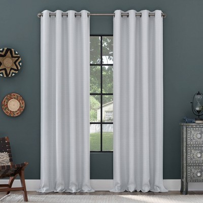 Grid Mosaic Recycled Fiber Blackout Grommet Top Curtain Panel - Clean Window