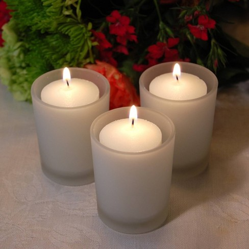 12ct LumaBase 15-Hour Candles in Frosted Glass Votives - image 1 of 3