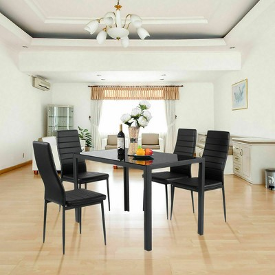 """Costway 5 Piece Kitchen Dining Set Glass Metal Table 30"""" and 4 Chairs Breakfast Furniture Black"""