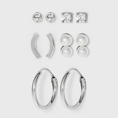 Sterling Silver Double Pearl and Cubic Zirconia Hoop Earring Set 5pc - A New Day™ Silver