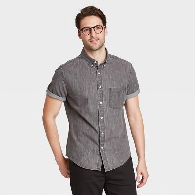 Men's Regular Fit Stretch Denim Short Sleeve Button-Down Shirt - Goodfellow & Co™