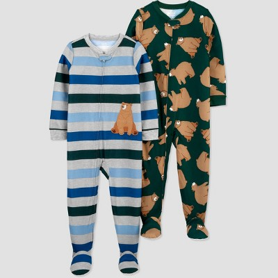 Baby Boys' 2pk Bear Footed Pajama - Just One You® made by carter's Green 9M