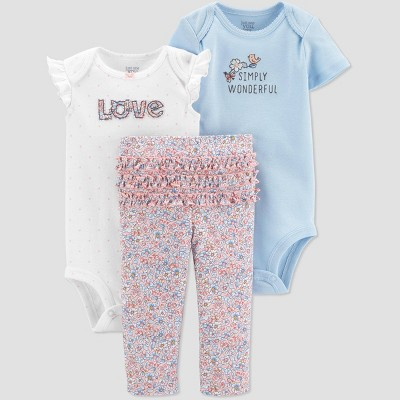 Baby Girls' Floral Top & Bottom Set - Just One You® made by carter's Blue/White 3M
