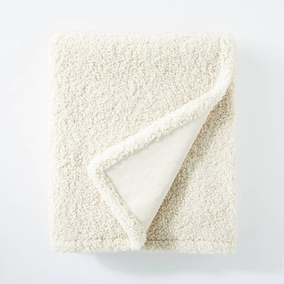 "50""x60"" Boucle Throw Blanket with Plush Reverse Cream - Threshold™ designed with Studio McGee"