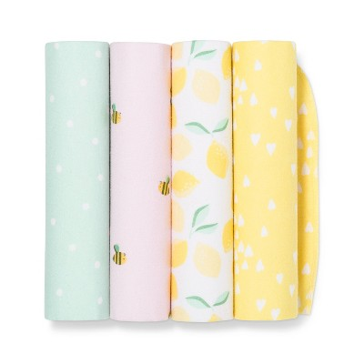 Flannel Baby Blankets Honeybee 4pk - Cloud Island™ Yellow/Pink