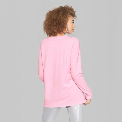 Women s Long Sleeve Oversized Crew Neck T-Shirt - Wild Fable™ Pink   Target 3964c6fb0