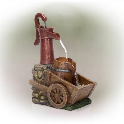 "24"" Vintage Red Water Pump With Wheelbarrow Fountain Small - Alpine Corporation"
