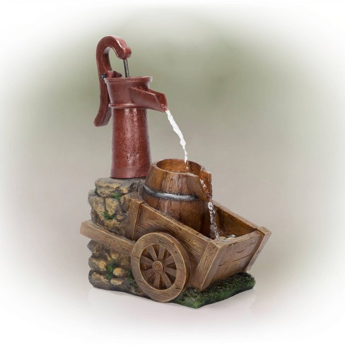 """24"""" Vintage Red Water Pump With Wheelbarrow Fountain Small - Alpine Corporation - image 1 of 4"""
