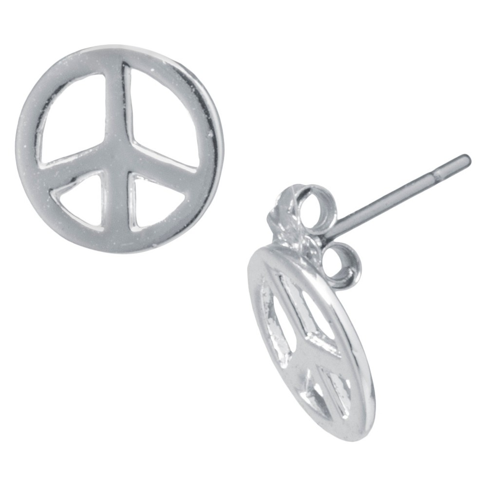 60s -70s Jewelry – Necklaces, Earrings, Rings, Bracelets Silver Plated Peace Sign Stud Earrings Girls $7.00 AT vintagedancer.com