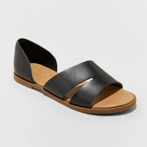 Women's Louise Faux Leather Open Toed Assymetrical Sandals Universal Thread™ Black 6